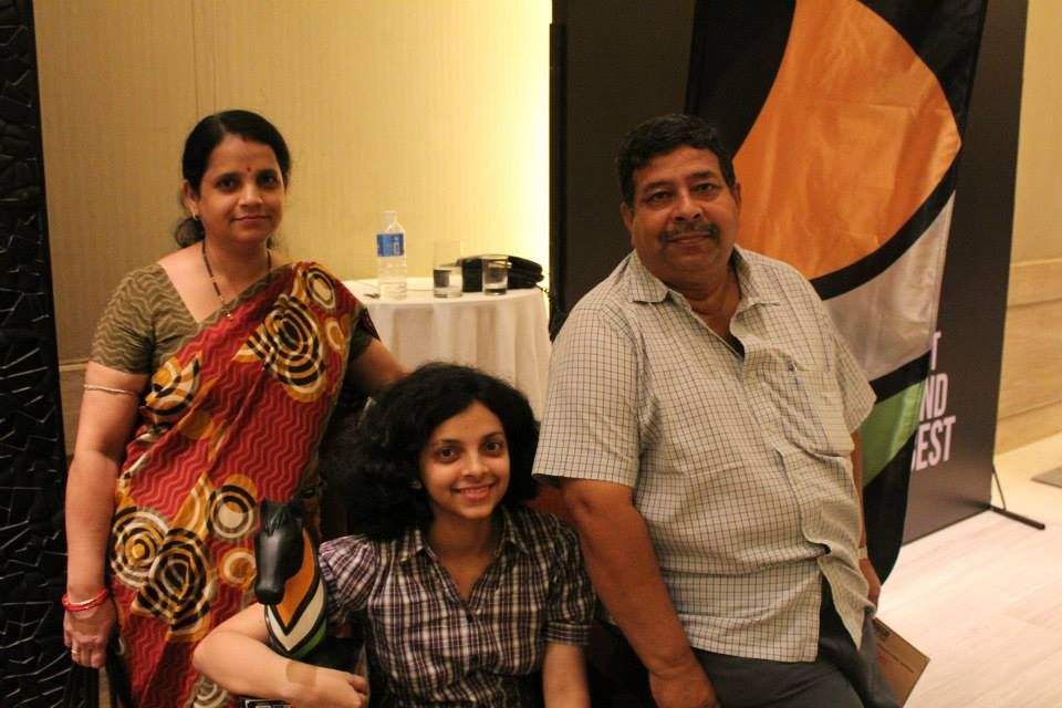 Padmini Rout with her parents